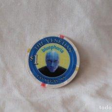 Monedas locales: FICHA USA $1 THE VENETIAN CASINO CASH CHIP LAS VEGAS, NEVADA BLUEPHORIA BLUE MAN GROUP. Lote 294031943