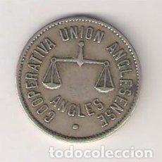Monedas locales: COOPERATIVA UNIÓN ANGLESENSE 5 PESETAS DE ANGLÉS. MBC. (C10). Lote 294830353
