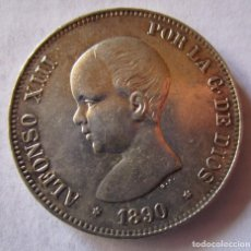 Monedas locales: ALFONSO XIII . 5 PESETAS DE PLATA DEL AÑO 1890 . ESTRELLAS 18-90 . PIEZA DE GRAN CALIDAD. Lote 295975308