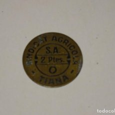 Monedas locales: (M) GUERRA CIVIL - SINDICAT AGRICOLA S.A. TIANA 2 PTES - SEÑALES DE USO NORMALES. Lote 296625668