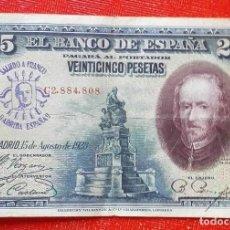Monedas medievales: BILLETE DE ESPAÑA - RARO BILLETE DE 25 PESETAS DEL AÑO 1928 CON RESELLO DE FRANCO . Lote 98428779