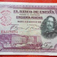 Monedas medievales: BILLETE DE ESPAÑA - RARO BILLETE DE 50 PESETAS DEL AÑO 1928 CON RESELLO DE FRANCO EN FALANGE. Lote 203188363