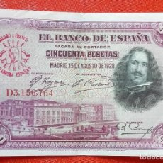 Monedas medievales: BILLETE DE ESPAÑA - RARO BILLETE DE 50 PESETAS DEL AÑO 1928 CON RESELLO DE FRANCO EN FALANGE. Lote 98429011