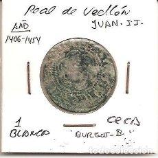 Monedas medievales: MUY RARA MONEDA JUAN II 1406-1454 CECA (BURGOS B) N.D. BLANCA DE 2 CORNADOS (VELLÓN). MBC-. Lote 103420551