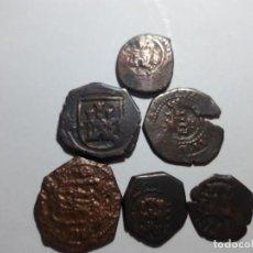 Monedas medievales: LOTE DE 6 PIEZAS DE MARAVEDIS RESELLOS ..FELIPE III . BRONCE A MARTILLO. Lote 143316938