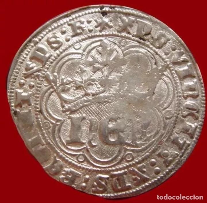 REAL DE PLATA ENRIQUE IV 1454-1474 CECA BURGOS RARÍSIMA PLATA (Numismática - Medievales - Castilla y León)