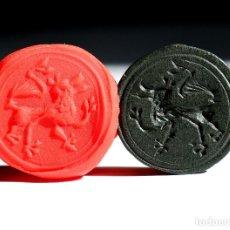 Monedas medievales: IMPRESIONANTE SIGILLUM SELLO LACRE MEDIEVAL CON LEON RAMPANTE . Lote 176703265