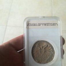 Monedas medievales: ESCUDO MEDIEVAL DE PLOMO ENCAPSULADO.. Lote 181452048