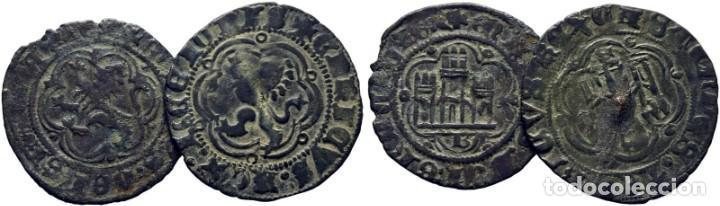LOTE DE 2 PIEZAS. CASTILLA Y LEÓN. ENRIQUE III. BURGOS. BLANCA. 1390-1406. EBC- (Numismática - Medievales - Castilla y León)