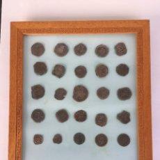 Monedas medievales: CUADRO CON MONEDAS CASTELLANAS RESELLOS. Lote 189981826