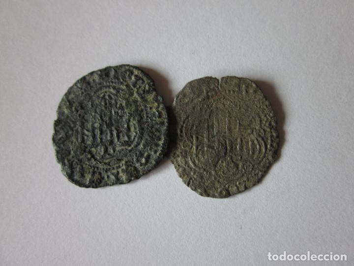 2 BLANCAS DE JUAN II. BURGOS Y CORUÑA. (Numismática - Medievales - Castilla y León)