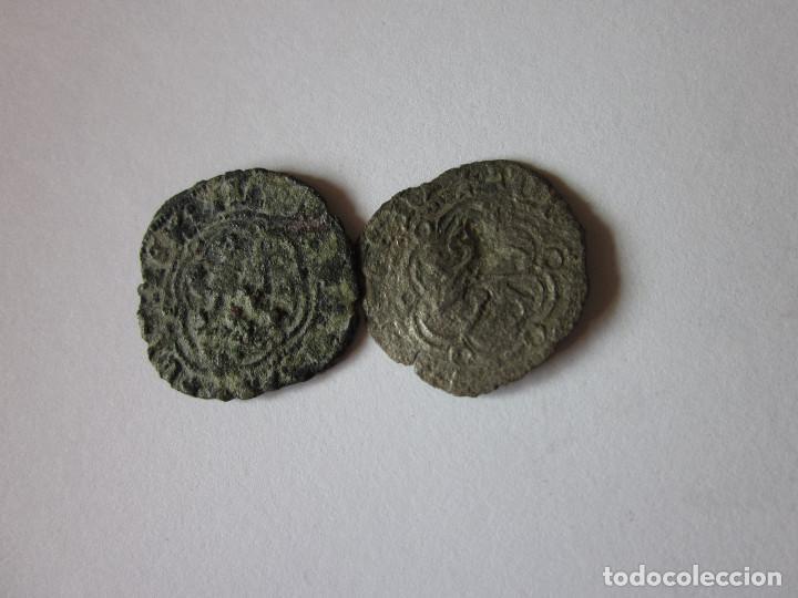 Monedas medievales: 2 Blancas de Juan II. Burgos y Coruña. - Foto 2 - 194299538