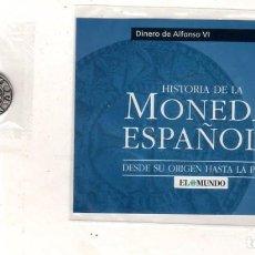 Monedas medievales: HISTORIA DE LA MONEDA ESPAÑOLA. EL MUNDO. DINERO DE ALFONSO VI.. Lote 263262100
