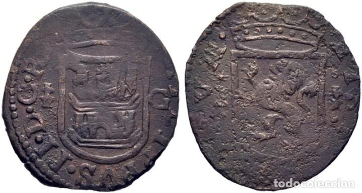 FELIPE II. CUENCA. CUARTILLO. ND. CRUZ PATRIARCAL Y G. EN REVERSO CUENCO Y CRUZ PATRIARCAL. EBC- (Numismática - Medievales - Castilla y León)