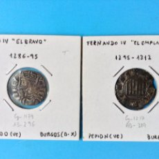 Moedas medievais: LOTE 2 MONEDAS MEDIEVALES VELLON SANCHO IV (1286-95) CORNADO Y FERNANDO IV (1295-1312) PEPION. Lote 200049698