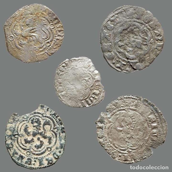 Monedas medievales: Curioso lote de 5 vellones medievales. 201-L - Foto 2 - 245606845