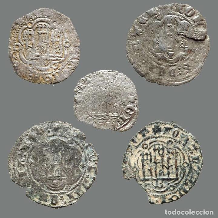 CURIOSO LOTE DE 5 VELLONES MEDIEVALES. 201-L (Numismática - Medievales - Castilla y León)