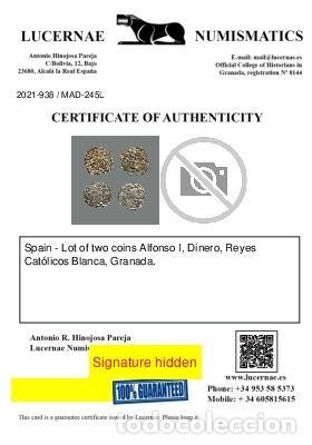 Monedas medievales: España - 2 monedas - Alfonso I, RR CC, Toledo-Granada. 245-L - Foto 2 - 245610655