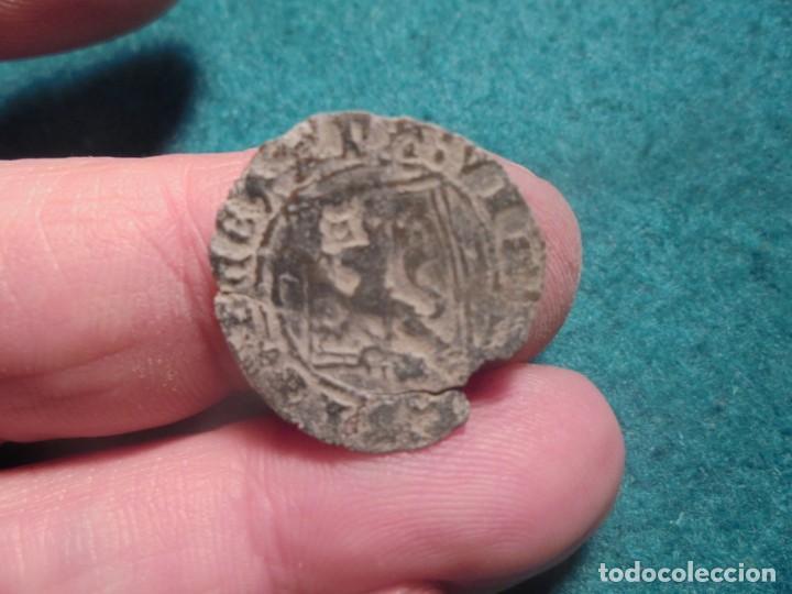 BONITA BLANCA DE ENRIQUE IV, CON UN RESELLO A IDENTIFICAR , ROEL ? (Numismática - Medievales - Castilla y León)