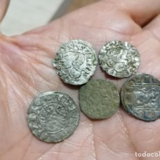 Monedas medievales: LOTE CINCO VELLONES CASTILLA Y LEÓN MEDIEVALES. Lote 292363338