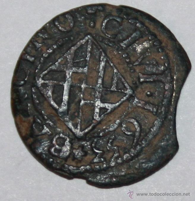 FELIPE IV 1653 ARDITE DE COBRE 2 DINERS DE BARCELONA (Numismática - Medievales - Cataluña y Aragón)