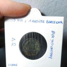 Monedas medievales: LUIS XIV, MONEDA DE 1 ARDITE (ARDIT) BARCELONA 164?. Lote 96150483