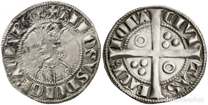 CROAT SPAIN ALFONSO II (1285-1291) BARCELONA. VERY SCARCE SILVER PLATA (Numismática - Medievales - Cataluña y Aragón)
