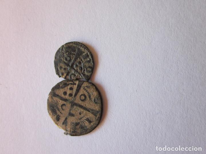Monedas medievales: Óbolo y Dinero de Pedro III. Barcelona. - Foto 2 - 161470218