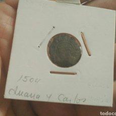 Monedas medievales: MUY BONITO DINERO JUANA Y CARLOS ARAGON S LEYENDA GÓTICA 1504 ESCASA PIEZA. Lote 162761145