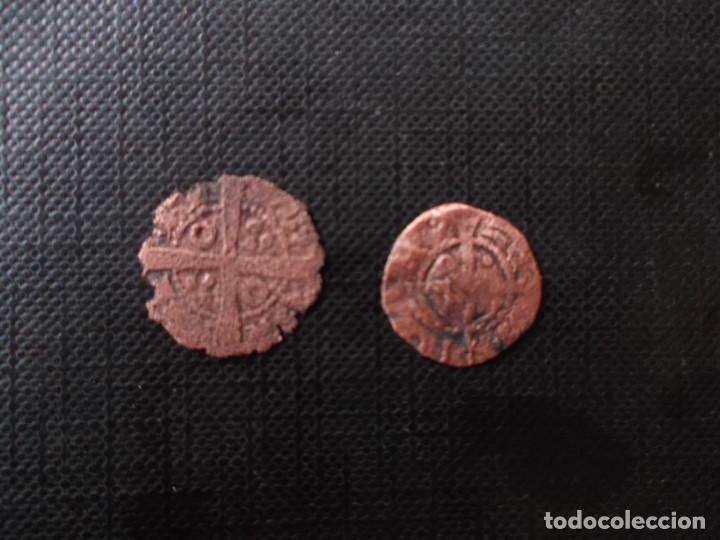 Monedas medievales: 2 monedas mediavales bellon Jaime I y diner Joana y Carlos - Foto 2 - 246271460