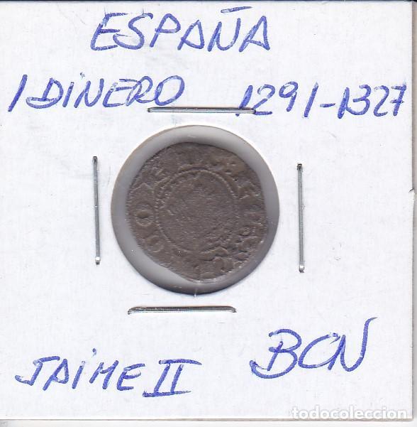 MONEDA DE ESPAÑA DE 1 DINERO DE JAIME II AÑOS 1291-1327 (Numismática - Medievales - Cataluña y Aragón)