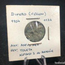 Monedas medievales: MONEDA ANTIGUA MEDIEVAL, DINERO DE VELLÓN ALFONSO I DE ARAGÓN. CATALOGACIÓN EN FUNDA. Lote 288903563