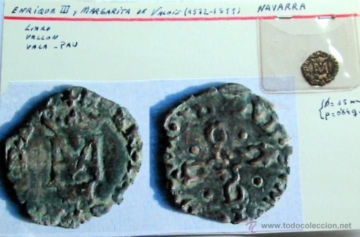 Monedas medievales: MARGARITA DE VALOIS/ HENRI III (1572/99)-LIARD -PAU (VACA) - Foto 3 - 52788977
