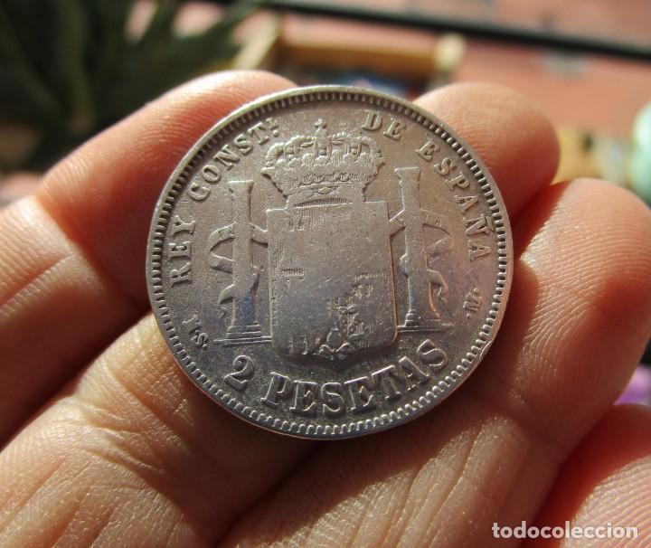 Mittelalterliche Münzen: ALFONSO XII . 2 PESETAS DE PLATA ESCASAS . 1882 - Foto 2 - 147238646