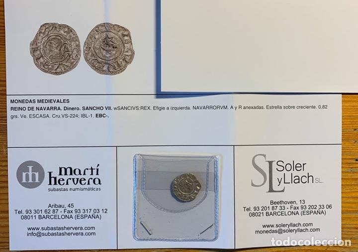 Monedas medievales: Sancho Vll El Fuerte ( 1194-1234) Navarra Navarrorvm variante rarísima luna maciza - Foto 3 - 150414333