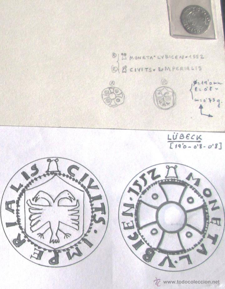 Monedas medievales: LÜBECK -DINERO - 1552 - PLATA - Foto 3 - 61906598