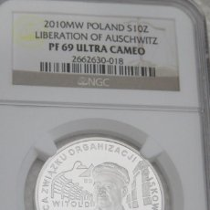 Monedas medievales: AUSCWITZ MONEDA 10 Z? 2010 65TH ANNIVERSARY OF THE LIBERATION OF AUSCHWITZ-BIRKENAU NGC PF70. Lote 66893602