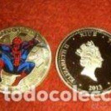 Monedas medievales: MONEDA 1 OZ DE SPIDERMAN CON BAÑO DE HOJA DE ORO Y PLACA PULIDA.. Lote 155018545