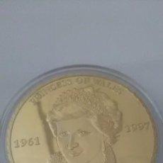 Monedas medievales: MONEDA DE LA PRINCESA DE GALES DIANA 1 OZ BAÑO DE ORO.. Lote 95360183