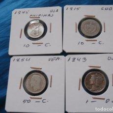 Monedas medievales: 10 CENTAVOS--DIME--10 CENTAVOS Y 50 CENTIMOS DE PLATA. Lote 103301127