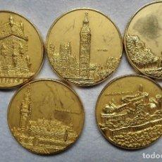 Monedas medievales: COLECCION 5 MEDALLAS-MONEDAS PAISES MIEMBROS DE LA CEE.. Lote 110796691