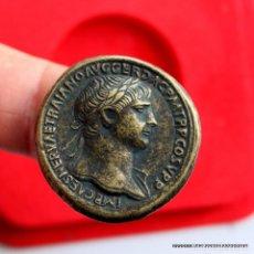 Monedas medievales: ENORME SESTERCIO TRAJANO REPLICA OFICIAL CON ESTUCHE. Lote 147850418