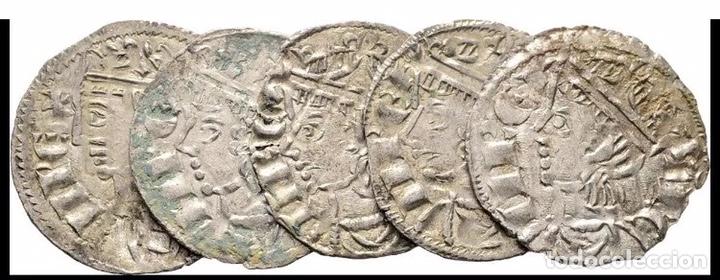 5 MONEDAS CORONADOS SANCHO IV (1286 ,1295 ) ESTRELLA MUY RARAS (Numismática - Hispania Antigua- Medievales - Otros)