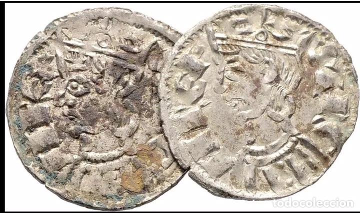2 MONEDAS CORONADOS SANCHO IV CUENCA (1286 ,1295 ) ESTRELLA Y CUENCO MUY RARAS (Numismática - Hispania Antigua- Medievales - Otros)