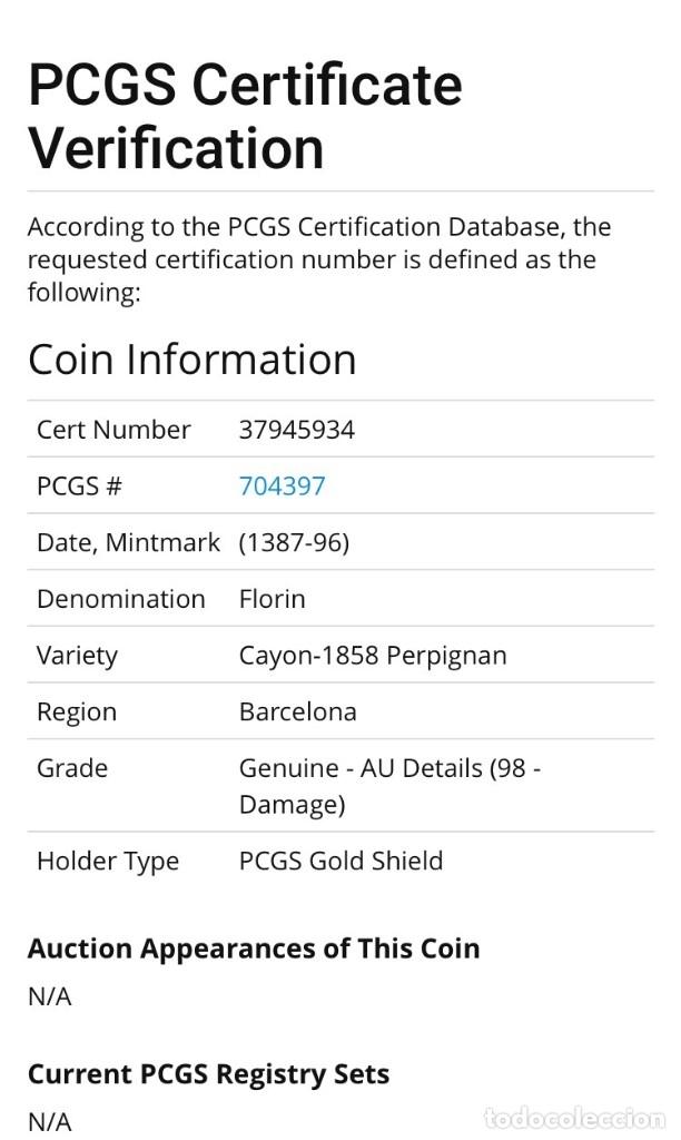 Monedas medievales: Florín Oro Gold Pedro III. Perpiñán 1346 Muy Rara CON CERTIFICADOS EBC+ AUNC - Foto 6 - 152492477