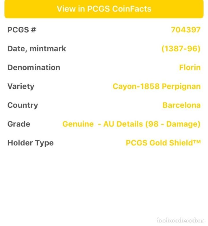 Monedas medievales: Florín Oro Gold Pedro III. Perpiñán 1346 Muy Rara CON CERTIFICADOS EBC+ AUNC - Foto 7 - 152492477