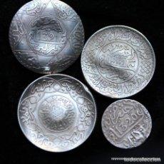 Monedas medievales: LOTE 4 MONEDAS PLATA MOROCCO USADOS COMO JOYAS , LEER. Lote 168952064