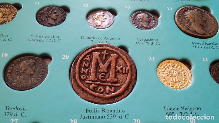 Monedas medievales: COLECCION 40 MONEDAS DRACMA DENARIO SESTERCIO SEMIS FOLLIS DIRHAM DUCADO REAL MARAVEDIS ESCUDOS AS - Foto 7 - 180045022