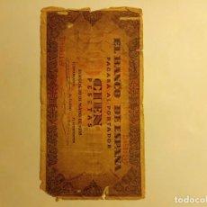 Monedas medievales: BILLETE DE CIEN PESETAS....1938. Lote 186242888