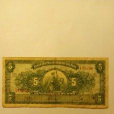 Monedas medievales: BILLETE ..5 SOLES DE ORO (PERU). Lote 186244695